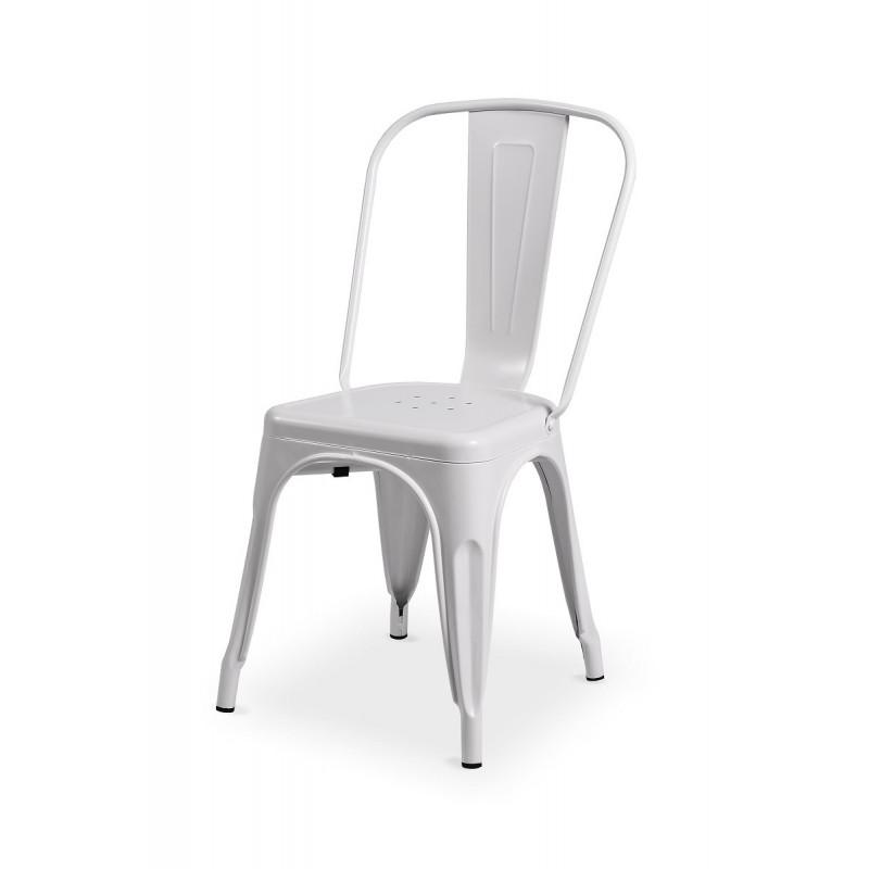 Krzesło loftowe Paris inspirowane TOLIX białe matowe